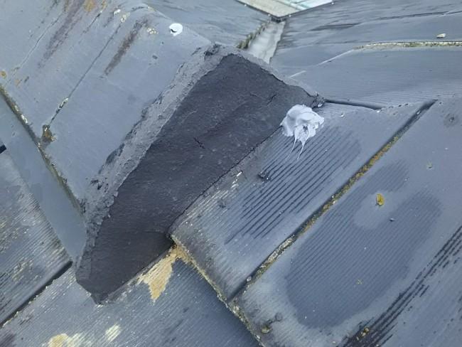 セメント瓦の葺き土詰替え