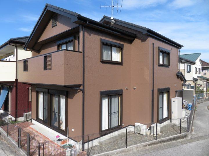 高知市介良 t様邸 外壁塗装 近隣のお家と被らない色はブラウン系単色でした