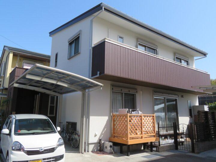高知市北秦泉寺 i様邸 外壁塗装工事 つや消し塗料で外壁をリフレッシュ・ポストも良い色になりました。