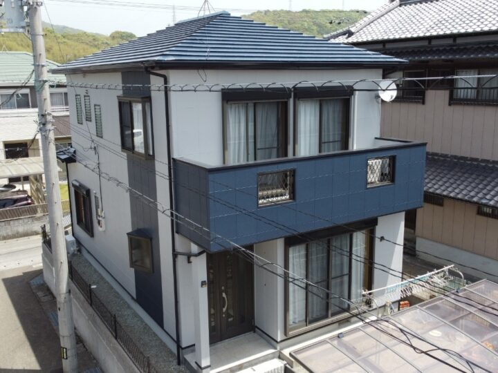 高知市一宮 h様邸 屋根塗装 外壁塗装工事 ラインを入れるひと工夫で雰囲気もガラッと変わります✨