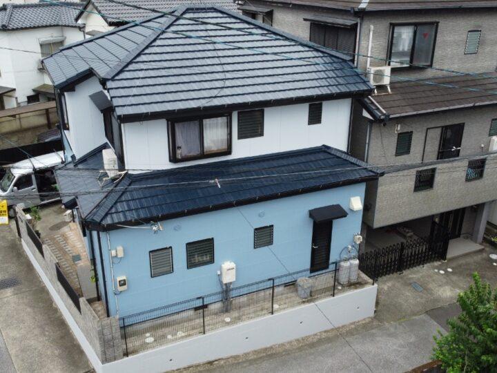 ブルー系で統一感のある仕上がりになりました。高知市孕西町 y様邸 屋根塗装 外壁塗装工事